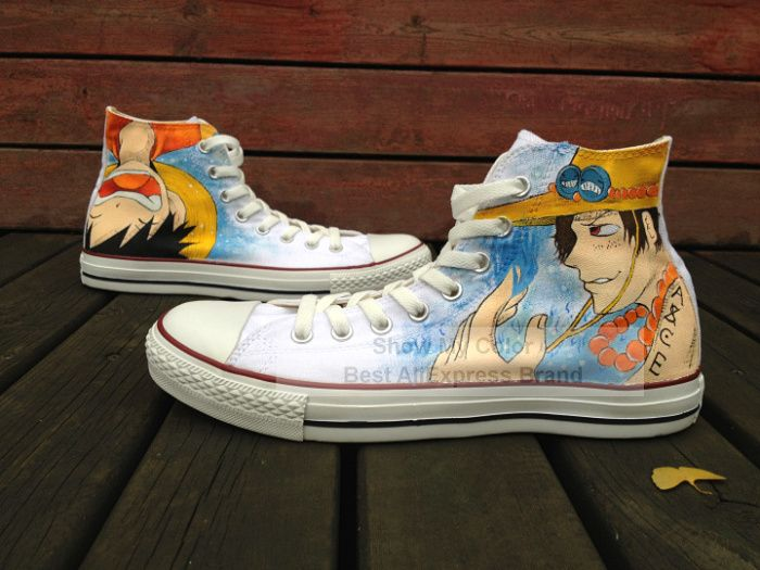 new shoes anime one piece rufy / ace alta cima scarpe di tela dipinta a mano fashion sneakers uomo / donna(China (Mainland))