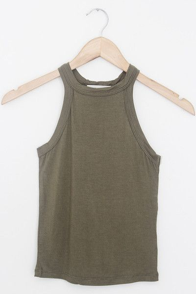 Details Size Shipping • 95% Rayon 5% Spandex • High neck tank top with soft stretch fabric • Hand Wash • Line dry • Imported • Measured from small • Length 10.5