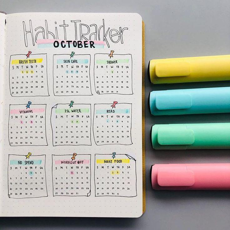 21 Habit Tracker Bullet Journal-Ideen, mit denen Sie sich endlich ein Bild machen können