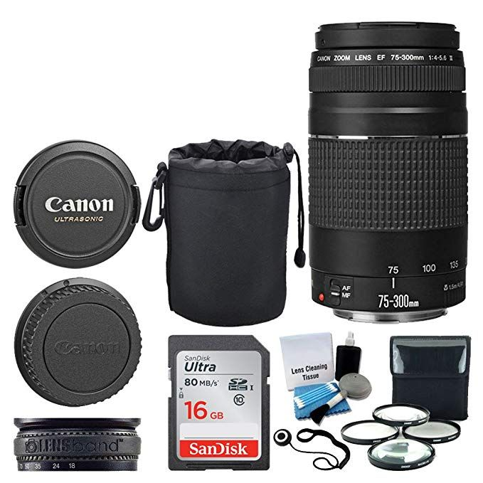 Canon Ef 75 300mm F 4 0 5 6 Iii Lens 16gb Memory Card Soft Lens Pouch 4 Piece Macro Filter Kit Lens Band 5 Piece Cle Lens Pouch Zoom Lens Dslr Camera