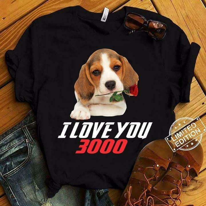 Beagle I Love You 3000 Dog Lovers T Shirt Black Cotton Ladies S