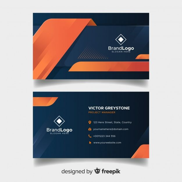Elegant Business Card Template With Geometric Design Free Vector Modern Business Cards Graphic Design Business Card Free Business Card Design