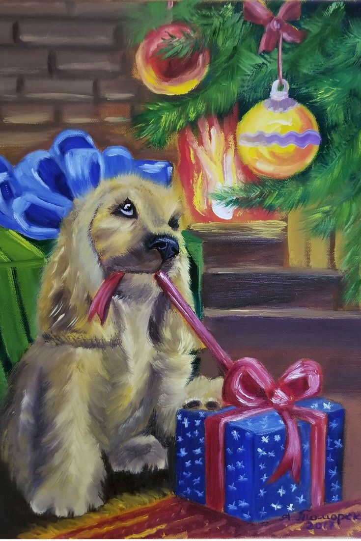 """""""Christmas Puppy"""". Original oil painting on canvas. 16"""" x 12"""". 2017. CAD75. Unframed. Ready to hang. Worldwide delivery in safe packaging. More paintings: #caramelartgallery_forsale #christmasgifts #christmasdecor#giftideas #giftsforher #gifts #oilpainting"""