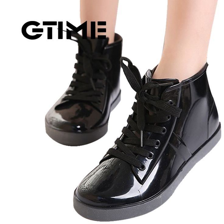 GTIME  Lace-Up Rain Boots Fashion Solid Ladies Flats Ankle Boots Casual Silver Women Boots Shoes Woman 4 Colors Size 35-40 #ZH3     Tag a friend who would love this!     FREE Shipping Worldwide     Buy one here---> https://worldoffashionandbeauty.com/gtime-lace-up-rain-boots-fashion-solid-ladies-flats-ankle-boots-casual-silver-women-boots-shoes-woman-4-colors-size-35-40-zh3/