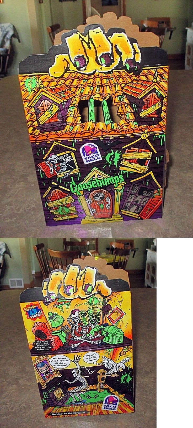 Fast Food 767: 1997 Taco Bell Goosebumps Haunted House Foil Box Kids Meal Slappy Cuddles Mummy -> BUY IT NOW ONLY: $42.79 on eBay!