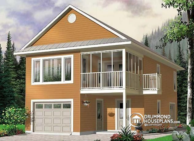 ECO-SLENDER, ULTRA VERSATILE  Garage with apartment, 2 bedrooms, open floor plan, screened-in balcony on 2nd level  http://www.drummondhouseplans.com/house-plan-detail/info/the-murphy-cottages-chalets-1001558.html