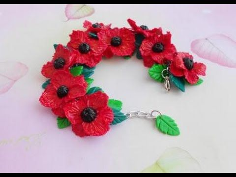 "Bracelet ""Poppies"" made of polymer clay - YouTube"