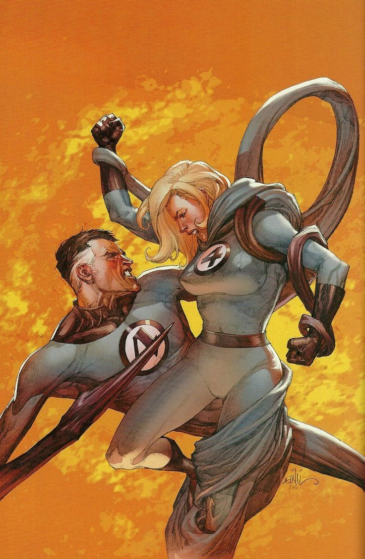 Secret Invasion variant cover - Mister Fantastic vs. Sue Storm by Leinil Yu and Justin Ponsor *