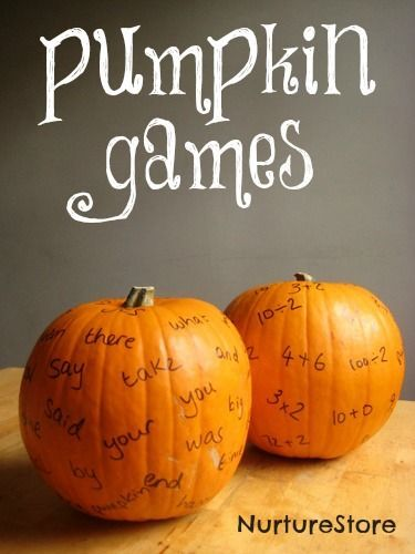 Love these great ideas for pumpkin games! :: autumn math games :: fall literacy activities :: sight word games for fall