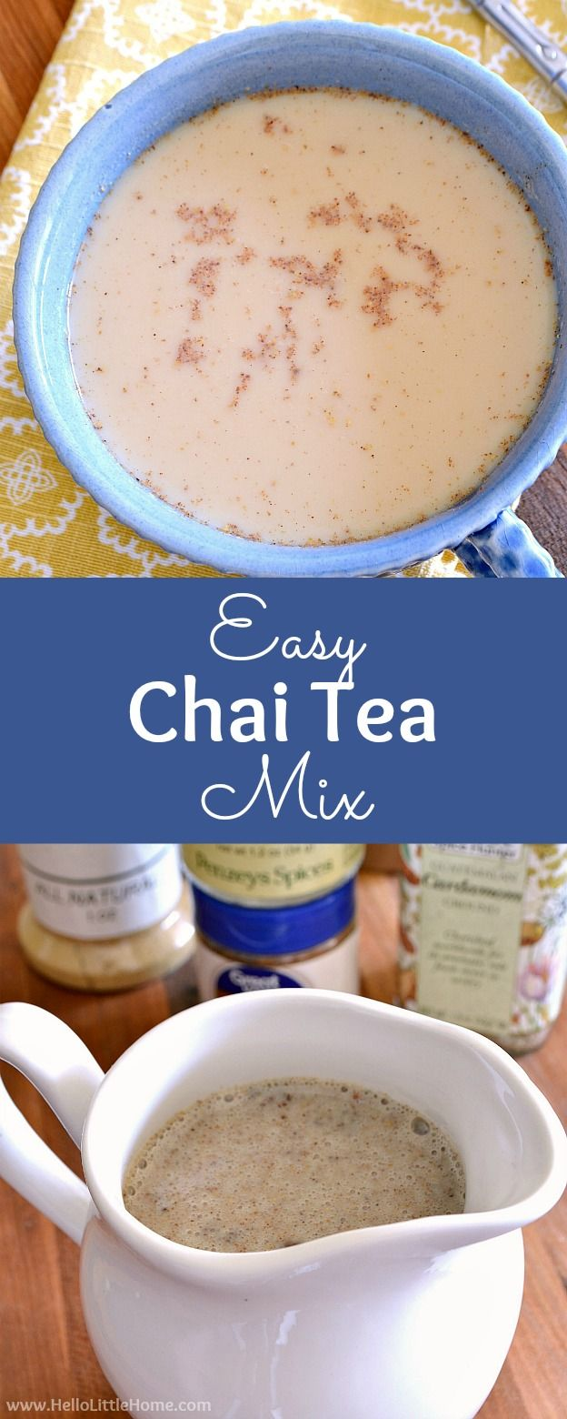 Easy Chai Tea Mix recipe! Learn how to make a homemade chai tea latte with this easy chai tea concentrate. This easy chai tea recipe is perfect for making an iced or hot latte in minutes! | Hello Little Home