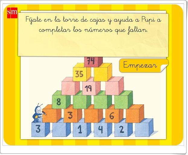 """""""Torre de cajas de Pupi"""" (Juego de Composición de Números de Primaria)"""