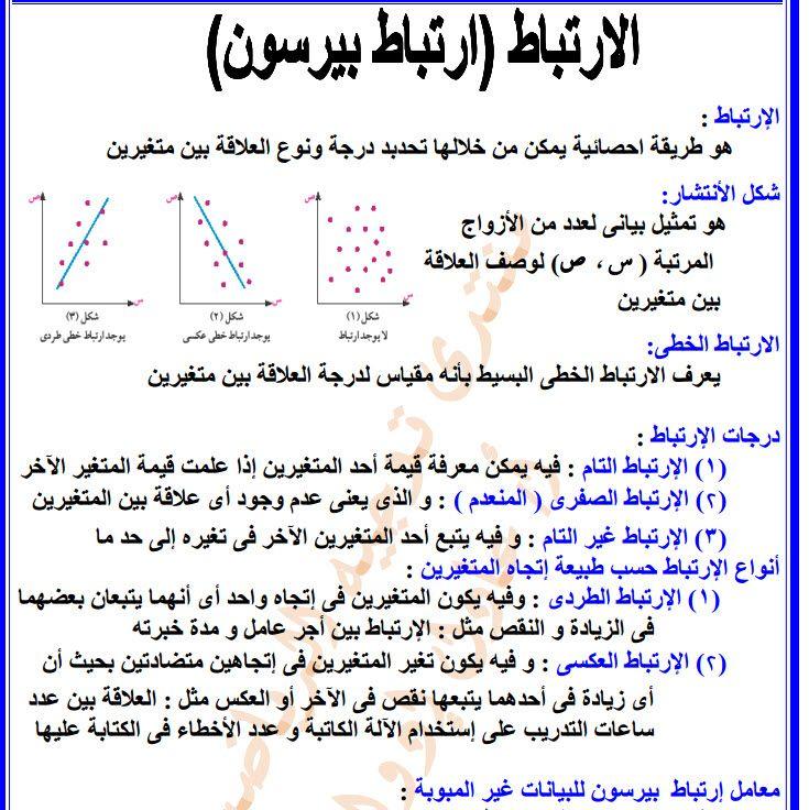 مذكرة احصاء للصف الثالث الثانوى 2020 Math Math Equations Exam