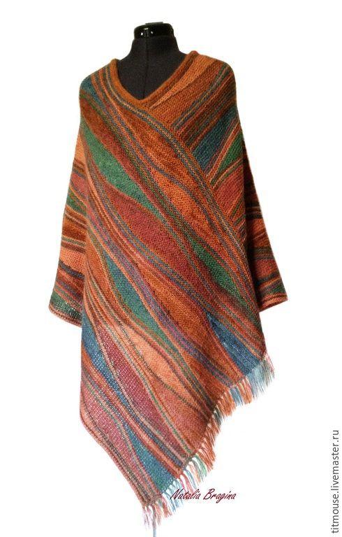 """Купить Пончо """"Марокко"""" - разноцветный, абстрактный, пончо, пончо вязаное, пончо спицами, накидка вязаная"""