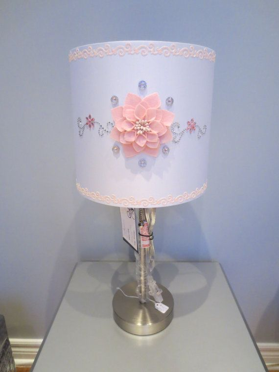 Girly Glam Lamp W White Lamp Shade Light Pink Floral Embellishment