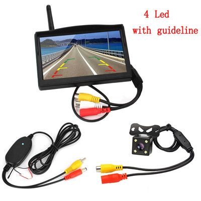"""Wireless Car Backup Camera System 5""""Vehicle Rearview Monitor 8 LED Night Vision Camera 170 Degree Wide View Monitors Car-styling"""