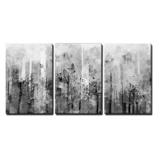 Wall26 3 Piece Canvas Wall Art Abstract Black And White Splash Artwork Modern Home Decor Stretched And Framed Ready To Hang 24 X36 X3 Panels Walmart Com In 2021 Grey