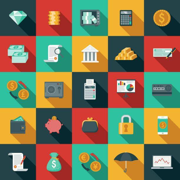 フラットなデザインの銀行業および金融側影アイコン セット ベクターアートイラスト アイコンセット 影のイラスト フラットデザイン