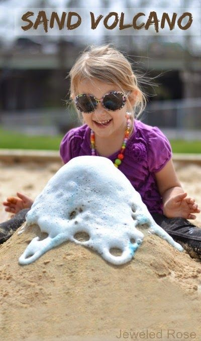 Making a sand volcano is tons of fun for kids! You can easily set this activity up at the beach or right in the sand box; a must try for Summer!