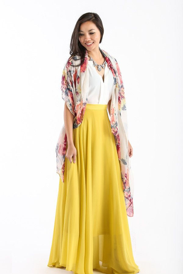 Amelia Full Yellow Maxi Skirt by Lucy Paris