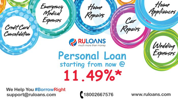 One Loan For Multiple Needs! No collateral, Quick loan approval. #PersonalLoan starting from now @ 11.49%*  #Ruloans For details visit – https://www.ruloans.com/personal-loan/new-personal-loan #BorrowRight