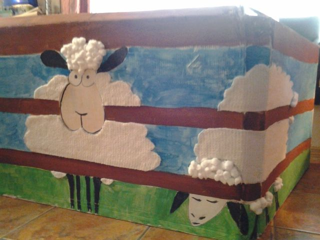 my cute and interactive sheep pen that I made out for cardboard