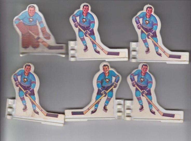 1970'S COLECO TABLE HOCKEY PLAYERS PITTSBURGH 6 PLAYER TEAM SET