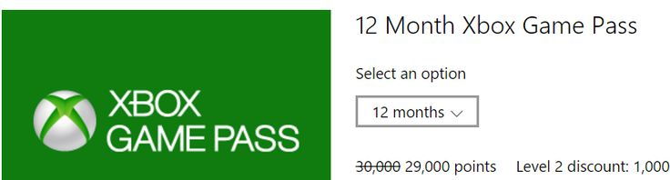 Xbox Game Pass is Now on Microsoft Rewards! Level 2 Members- (29000 points for 12 months) (6.800 points for 1 m... #LavaHot http://www.lavahotdeals.com/us/cheap/xbox-game-pass-microsoft-rewards-level-2-members/208346?utm_source=pinterest&utm_medium=rss&utm_campaign=at_lavahotdealsus