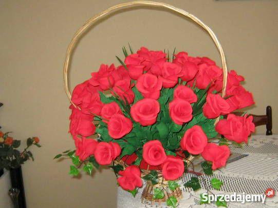 Kwiaty z bibuły krepy krepiny ozdoba domu Chrzanów