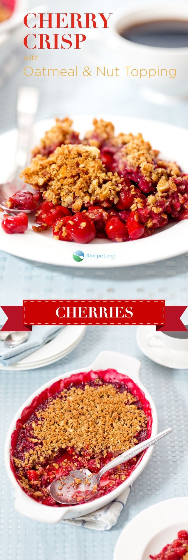 Easy to make cherry crisp with oatmeal and nuts. Great with sour cherries or make cherry crisp with pie filling if you're in a hurry.
