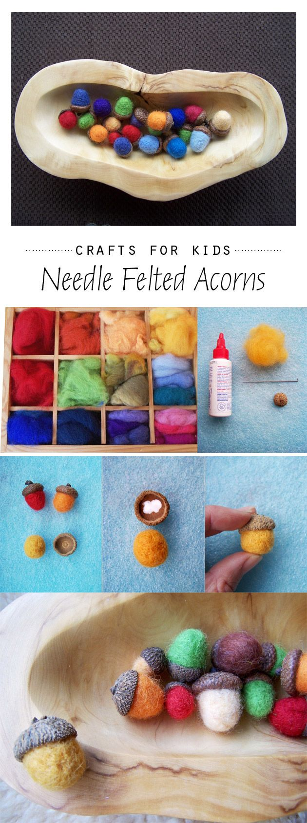 An inspiring fall craft activity, needle felted acorns. I am already picturing a big bowl of these little lovelies on our coffee table!