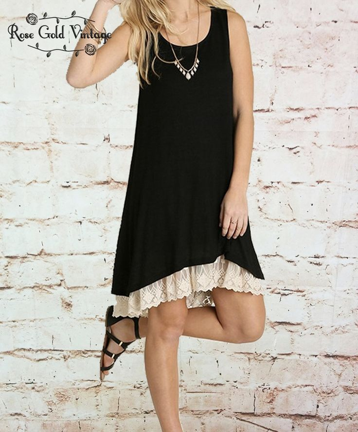 Lace Trim Tank Dress - Black – Rose Gold Vintage