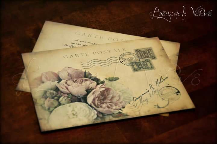 Carte postale wedding invitation - Peony bouquet - Vintage wedding stationery - Beyond Verve