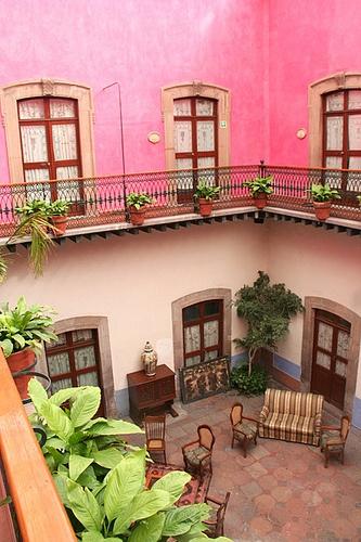Pink courtyard. Queretaro, Mexico
