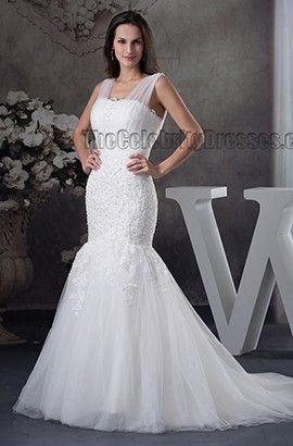 Trumpet /Mermaid Tulle Lace Up Embroidery Wedding Dress #WeddingDresses #WeddingDress