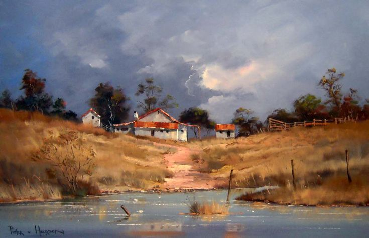 Pieter van Heerden - Farm By The River (910 x 600) (SOLD)