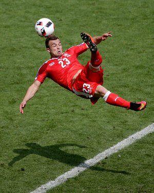 Xherdan Shaqiri of Switzerland scores to make it 1-1