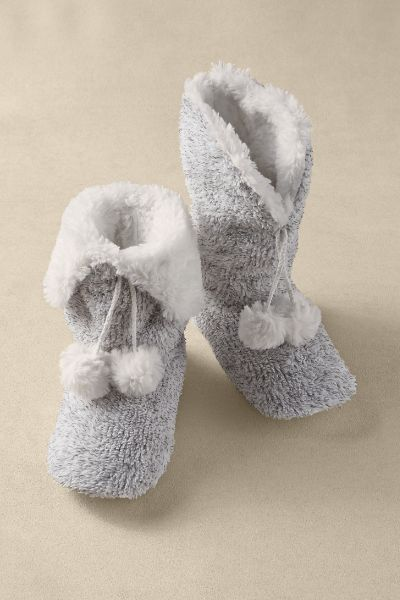 Soft Surroundings Cozy Slippers. Plush and fluffy faux fur lines these snuggly soft slippers.