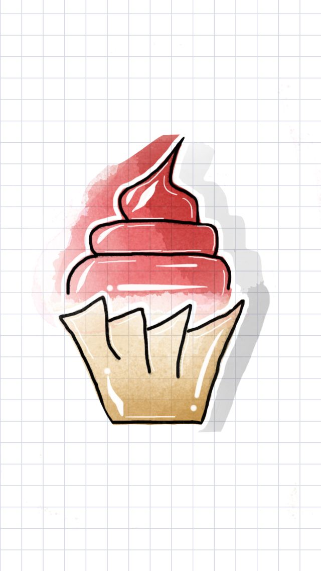 Tayasui sketches, red velvet, cake, watercolor, maroon, whip cream, read cream, cupcake, cute, kawaii, watercolor ideas