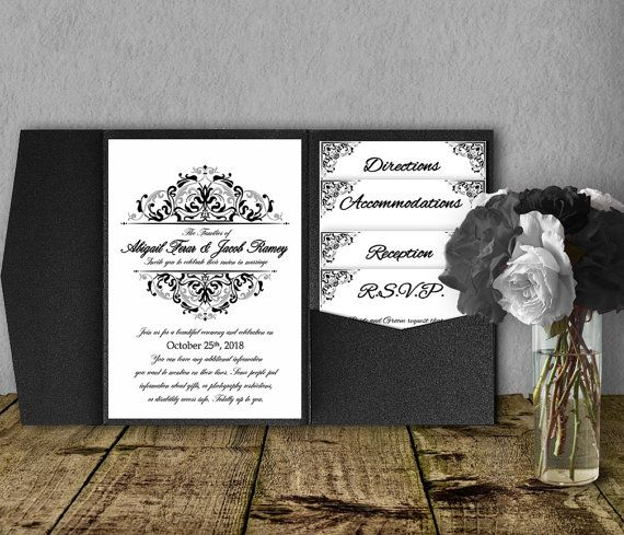 Beautiful Gorgeous Pocketfold Wedding Invitations That You Edit And Print Yourself!  These Templates Are Super Inexpensive And A GREAT Way To Get Information To  Your ...