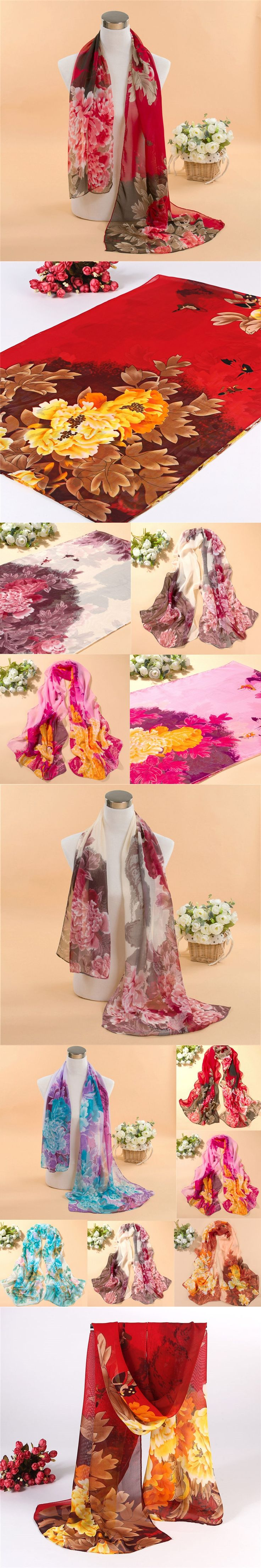 Fashion Lady Girl 8 Colors 160 50cm Chiffon Scarf Summer Peony Printing Shawls Scarves Silk Scarf Gift