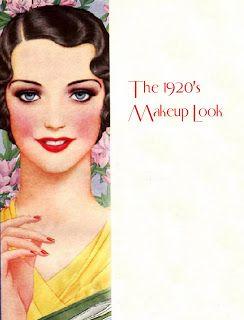 Anos 20: maquiagem. Sobrancelhas finas, pele muito branca e lábios bem marcados.