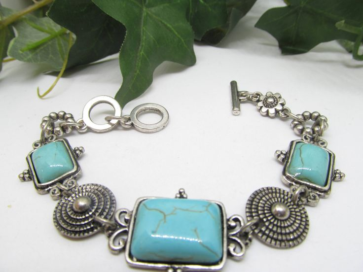 Vintage Fancy Link & Chain Panel Style Bracelet Beautiful Silver tone Details and Faux Square Cut Turquoise Cabochon Stones Gorgeous Details