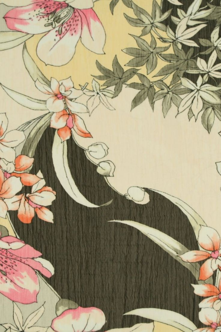 Chiffon Flowers met Bloemen Print Chiffon/Voile