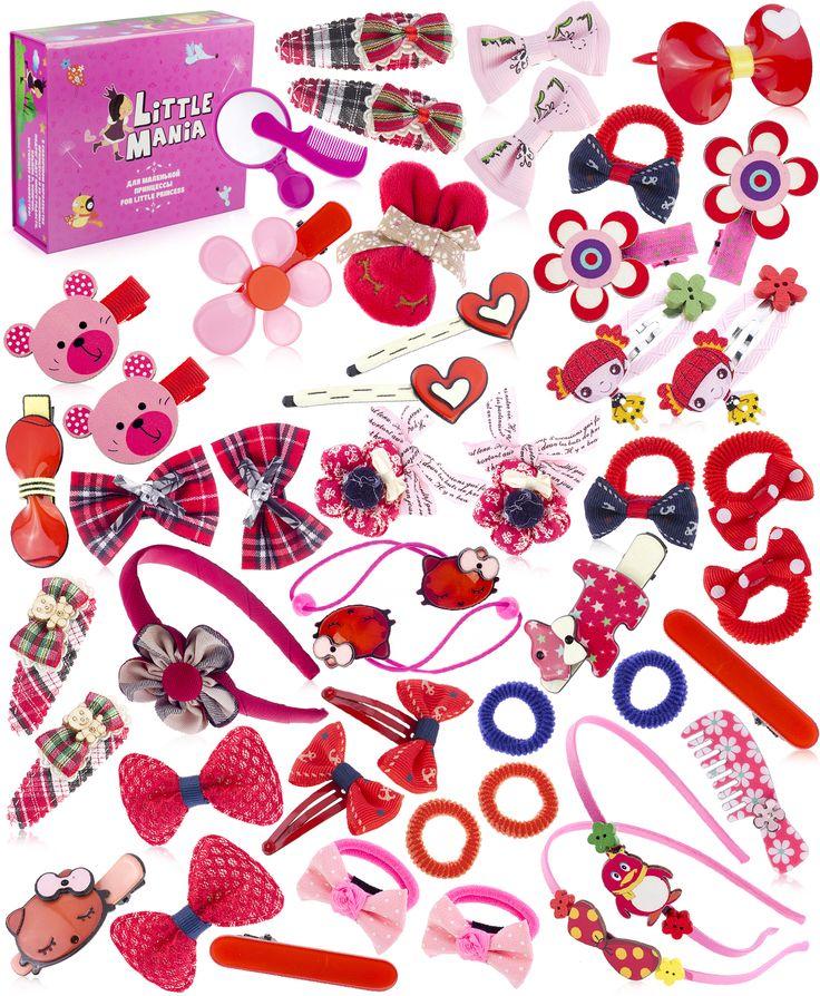 Набор аксессуаров для волос Ягодка (в подарочной коробке) Little Mania (арт.21169661) Цвет: мультиколор В комплекте: подарочная коробка, зеркало, расческа, 3 ободка, 10 резинок, 31 заколка