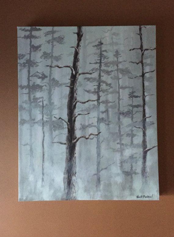 Trees in the Mist Original Acrylic Painting by KristiBonham