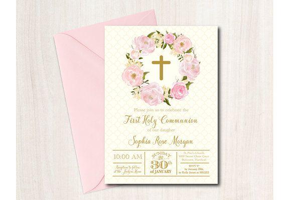 First Communion Invitation, Baptism, Floral Communion Invitation, printable - DIY