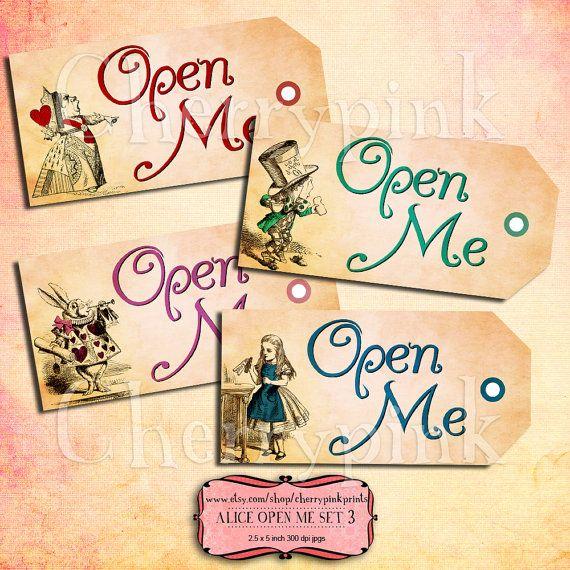 Alice Vintage Tags OPEN ME Set 3 Alice in by CherryPinkPrints, $4.00