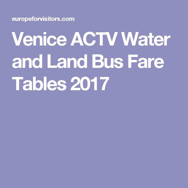 Venice ACTV Water and Land Bus Fare Tables 2017