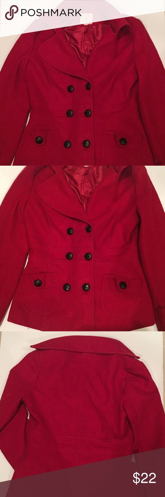 Forever 21 Red Pea Coat Forever 21 red peacoat size L. Super duper warm and cozy ☺️ the shell is 25% wool, 75% polyester. Features 2 shallow pockets in front. In good condition! Not a single button out of place. Forever 21 Jackets & Coats Pea Coats