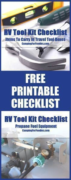 FREE printable version of our RV Tool Kit Checklist! Camping Hacks, Camping Tips, RV Camping, #tent Camping, Brilliant Camping Ideas!